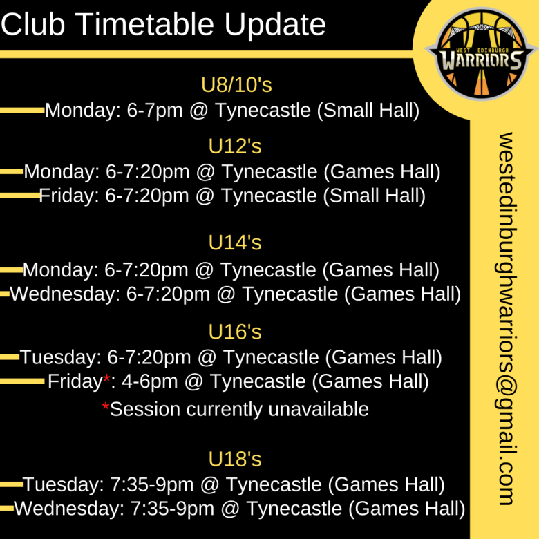 Club Timetable Update
