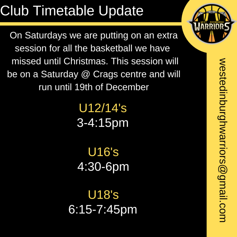 Copy of Club Timetable Update